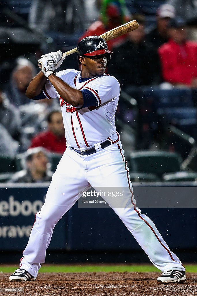 <a gi-track='captionPersonalityLinkClicked' href=/galleries/search?phrase=Justin+Upton&family=editorial&specificpeople=846265 ng-click='$event.stopPropagation()'>Justin Upton</a> #8 of the Atlanta Braves bats in the fourth inning of the game against the Philadelphia Phillies at Turner Field on April 3, 2013 in Atlanta, Georgia.