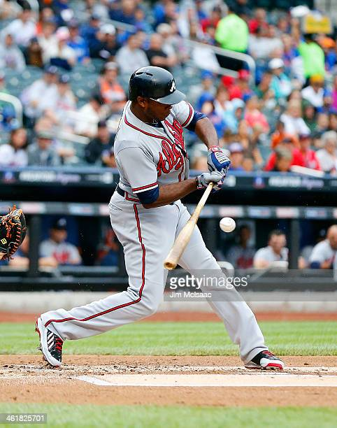 Justin Upton of the Atlanta Braves in action against the New York Mets at Citi Field on July 25 2013 in the Flushing neighborhood of the Queens...