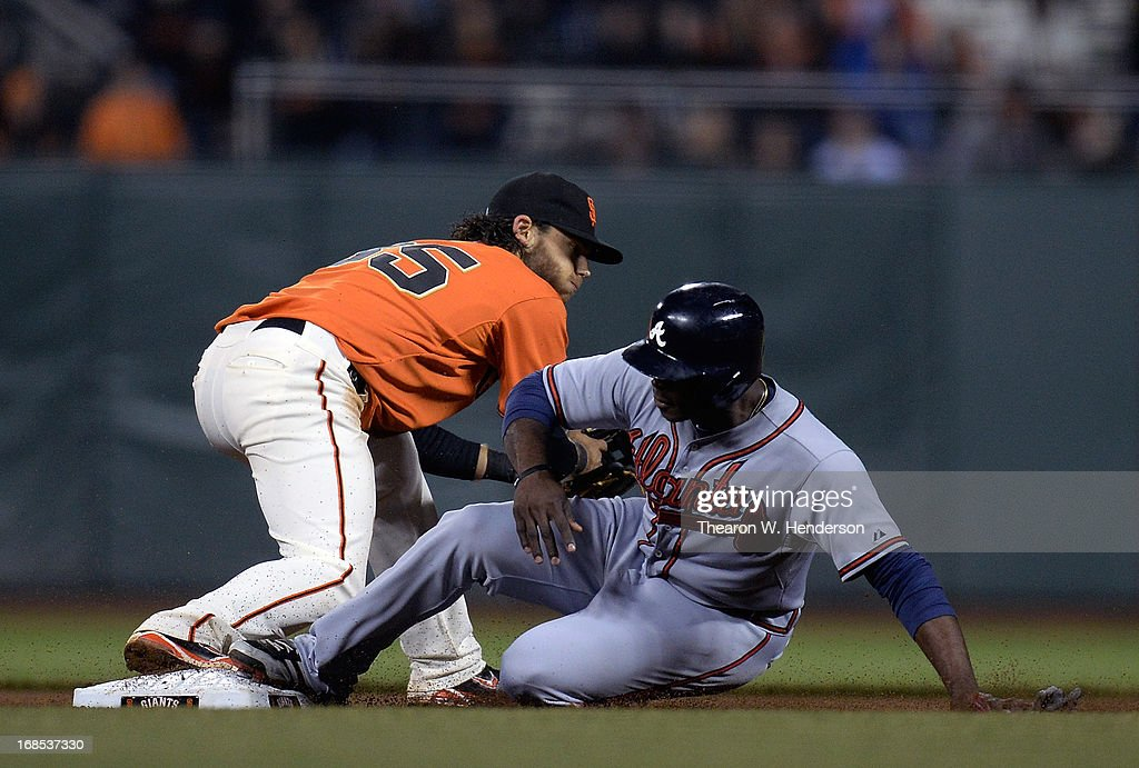 <a gi-track='captionPersonalityLinkClicked' href=/galleries/search?phrase=Justin+Upton&family=editorial&specificpeople=846265 ng-click='$event.stopPropagation()'>Justin Upton</a> #8 of the Atlanta Braves is forced out at second base by <a gi-track='captionPersonalityLinkClicked' href=/galleries/search?phrase=Brandon+Crawford&family=editorial&specificpeople=5580312 ng-click='$event.stopPropagation()'>Brandon Crawford</a> #35 of the San Francisco Giants in the ninth inning at AT&T Park on May 10, 2013 in San Francisco, California. The Giants won the game 8-2.