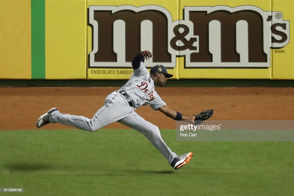 Justin Upton #8 of the Detroit Tigers and the American League catches a ball hit by Corey Seager #5 of the Los Angeles Dodgers and the National League for an out in the tenth inning during the 88th MLB All-Star Game at Marlins Park on July 11, 2017 in Miami, Florida.