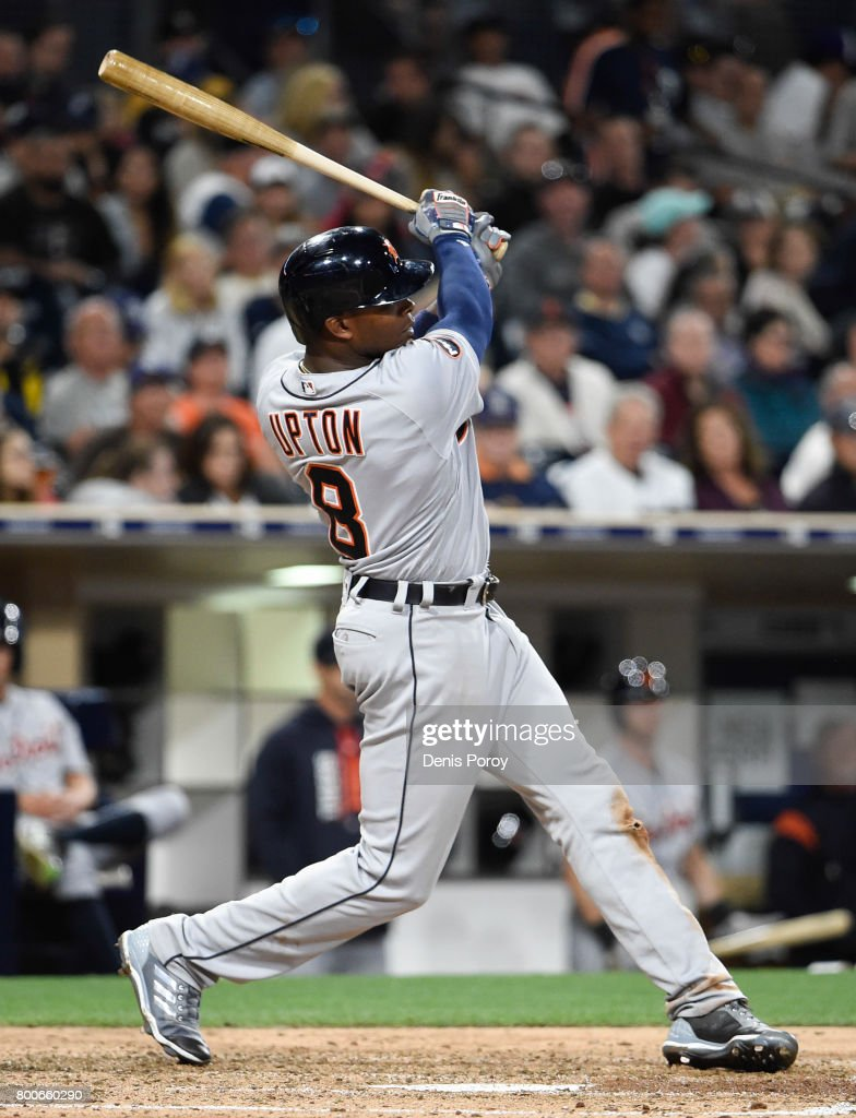 Justin Upton #8 of the Detroit Tigers hits a double during the seventh inning of a baseball game against the San Diego Padres at PETCO Park on June 24, 2017 in San Diego, California.