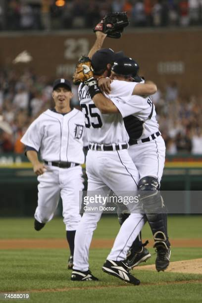 Justin Verlander and Ivan Rodriguez of the Detroit Tigers celebrate after Verlander pitched a nohitter against the Milwaukee Brewers at Comerica Park...