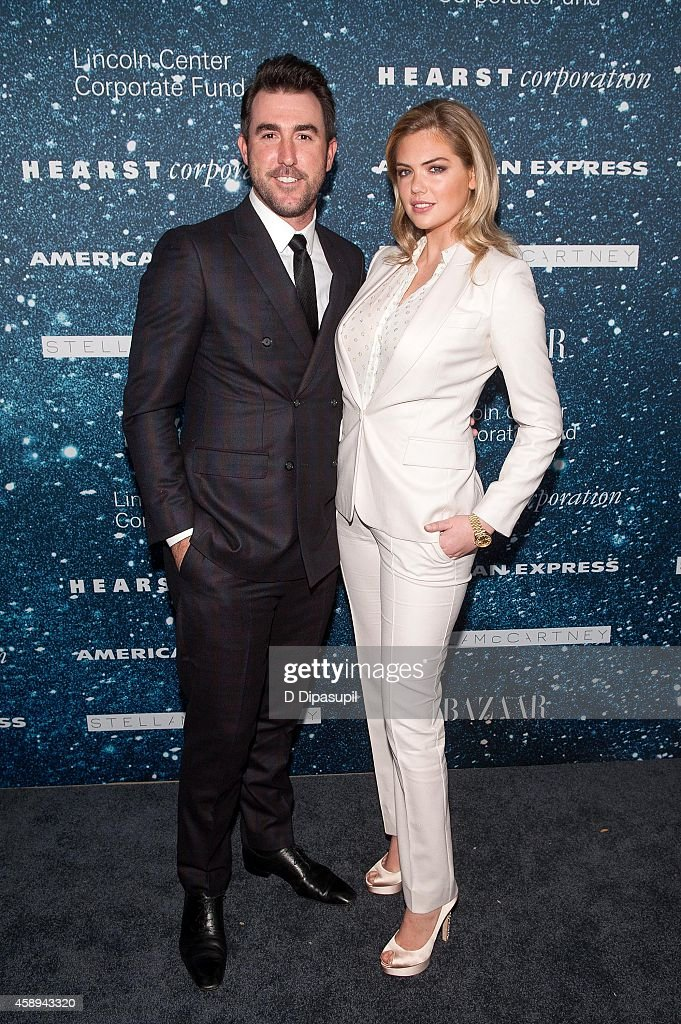 Justin Verlander (L) and Kate Upton attend the 2014 Women's Leadership Award Honoring Stella McCartney at Alice Tully Hall at Lincoln Center on November 13, 2014 in New York City.