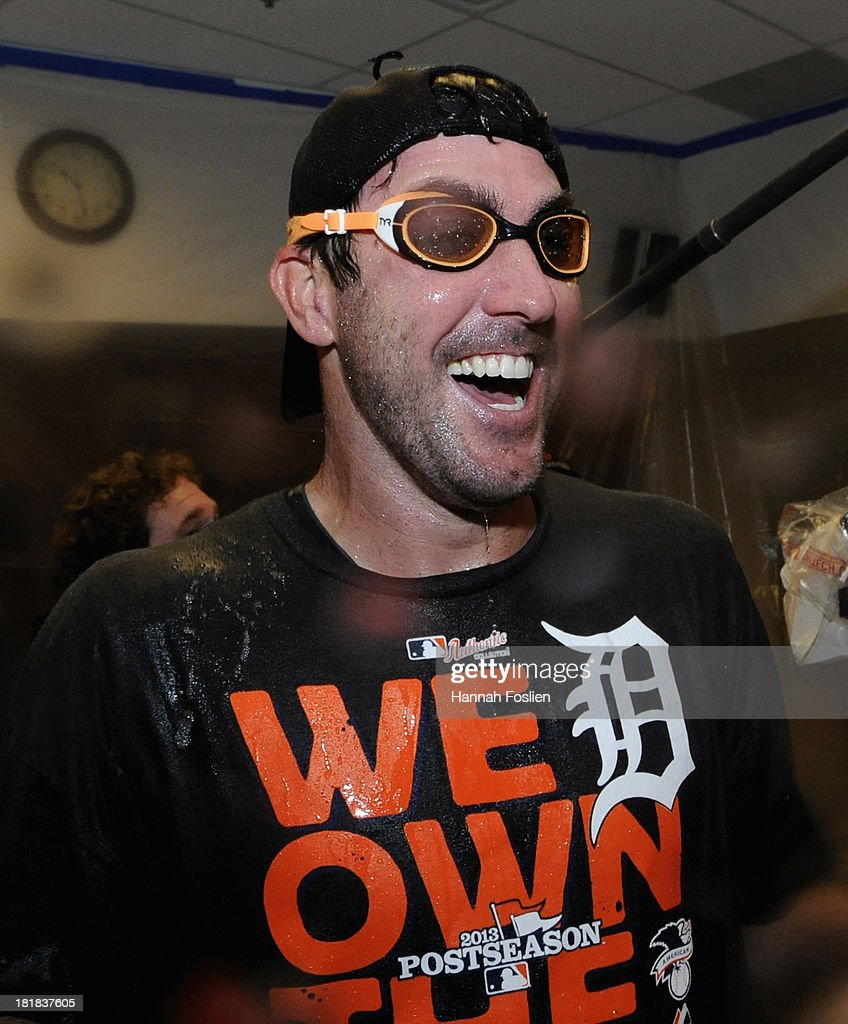 <a gi-track='captionPersonalityLinkClicked' href=/galleries/search?phrase=Justin+Verlander&family=editorial&specificpeople=556723 ng-click='$event.stopPropagation()'>Justin Verlander</a> #35 of the Detroit Tigers celebrates with his teammates in the clubhouse after the Tigers defeated the Twins 1-0 on September 25, 2013 at Target Field in Minneapolis, Minnesota. The Tigers clinched the American League Central Division title.