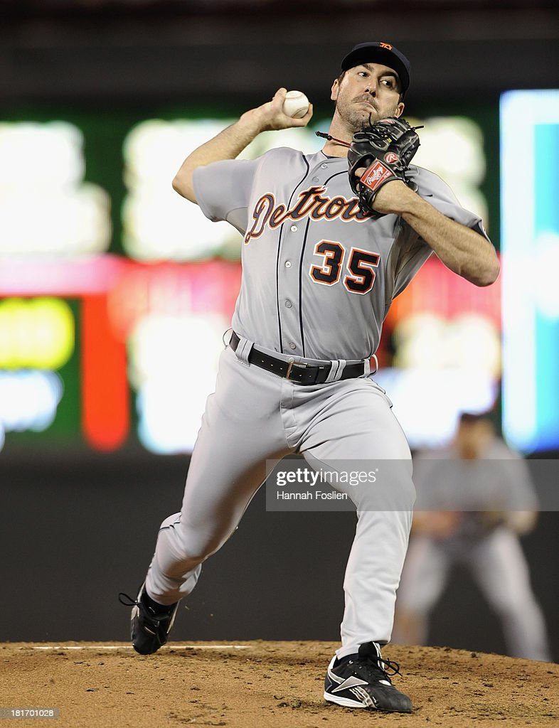 <a gi-track='captionPersonalityLinkClicked' href=/galleries/search?phrase=Justin+Verlander&family=editorial&specificpeople=556723 ng-click='$event.stopPropagation()'>Justin Verlander</a> #35 of the Detroit Tigers delivers a pitch against the Minnesota Twins during the second inning of the game on September 23, 2013 at Target Field in Minneapolis, Minnesota.