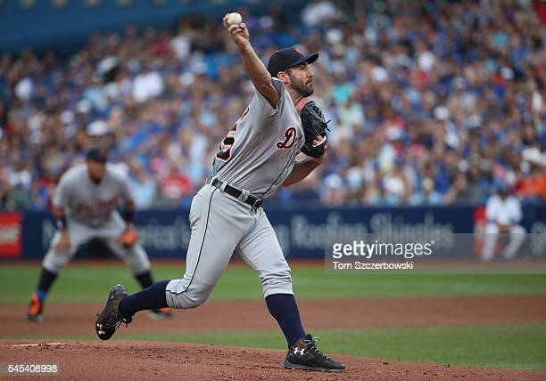 Justin Verlander of the Detroit Tigers delivers a pitch in the first inning during MLB game action against the Toronto Blue Jays on July 7 2016 at...
