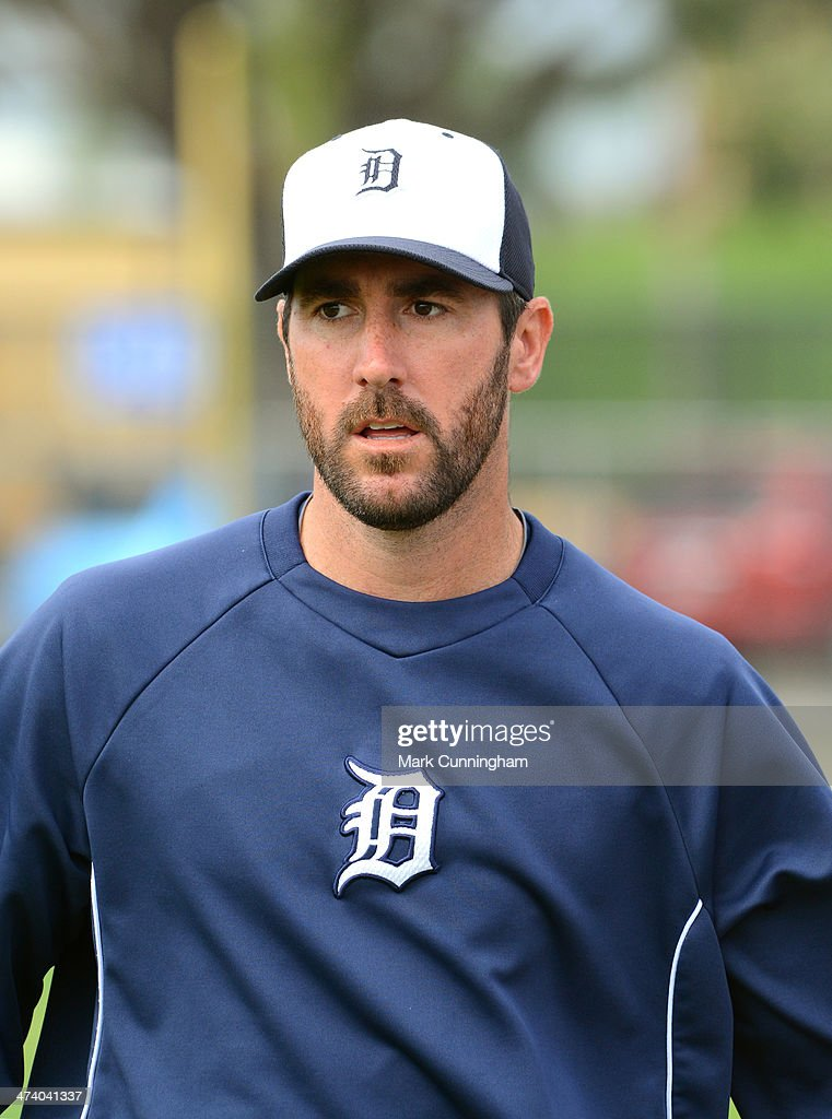 <a gi-track='captionPersonalityLinkClicked' href=/galleries/search?phrase=Justin+Verlander&family=editorial&specificpeople=556723 ng-click='$event.stopPropagation()'>Justin Verlander</a> #35 of the Detroit Tigers looks on during the spring training workout day at the TigerTown complex on February 21, 2014 in Lakeland, Florida.