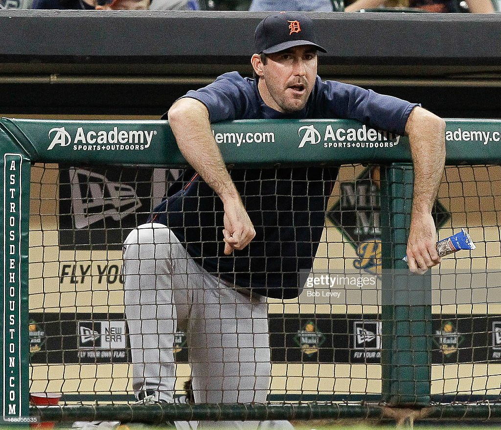 <a gi-track='captionPersonalityLinkClicked' href=/galleries/search?phrase=Justin+Verlander&family=editorial&specificpeople=556723 ng-click='$event.stopPropagation()'>Justin Verlander</a> #35 of the Detroit Tigers looks on from the dugout against the Houston Astros at Minute Maid Park on May 4, 2013 in Houston, Texas.