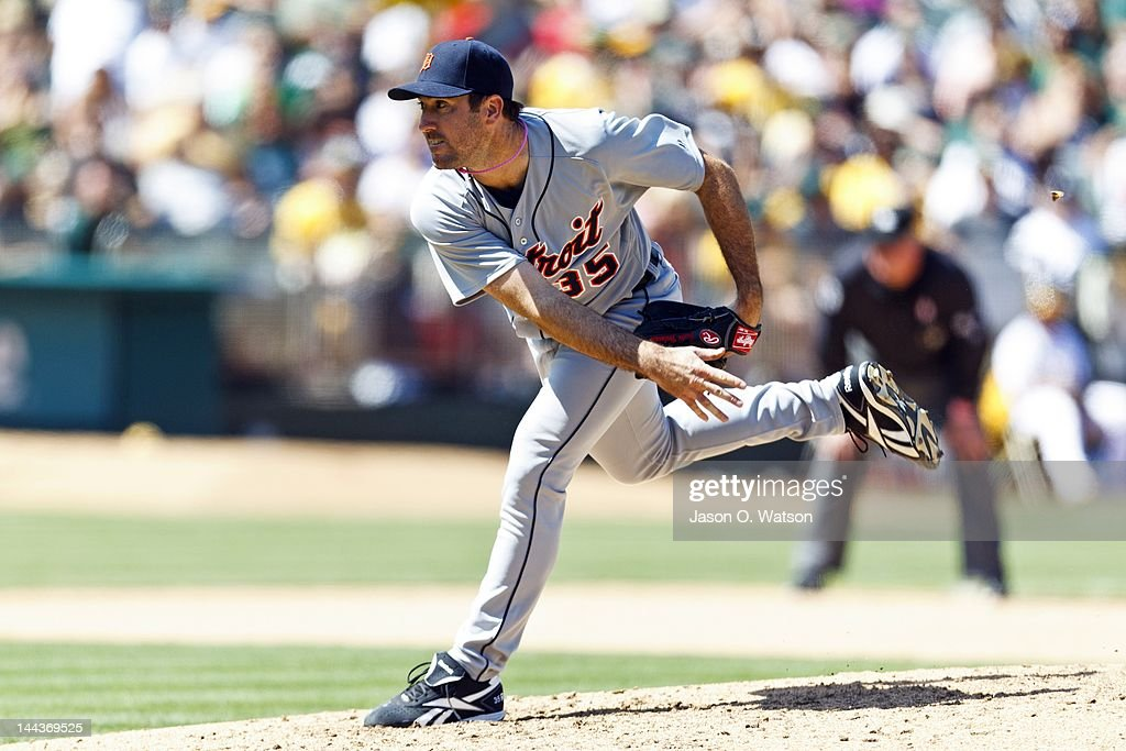 <a gi-track='captionPersonalityLinkClicked' href=/galleries/search?phrase=Justin+Verlander&family=editorial&specificpeople=556723 ng-click='$event.stopPropagation()'>Justin Verlander</a> #35 of the Detroit Tigers pitches against the Oakland Athletics during the seventh inning at O.co Coliseum on May 13, 2012 in Oakland, California. The Detroit Tigers defeated the Oakland Athletics 3-1.