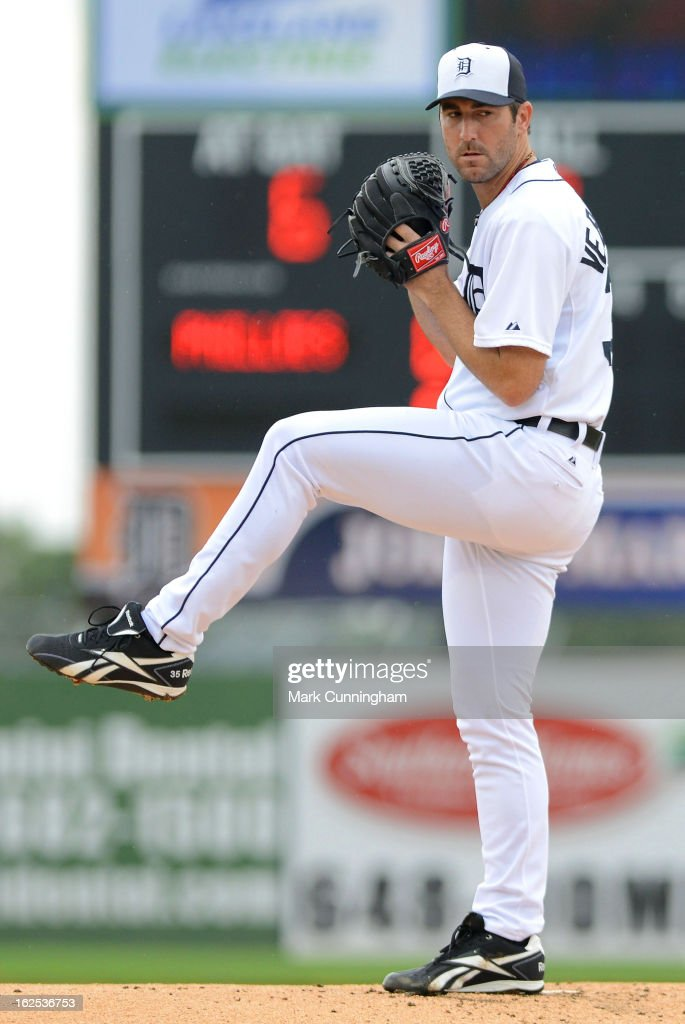 <a gi-track='captionPersonalityLinkClicked' href=/galleries/search?phrase=Justin+Verlander&family=editorial&specificpeople=556723 ng-click='$event.stopPropagation()'>Justin Verlander</a> #35 of the Detroit Tigers pitches against the Philadelphia Phillies during the spring training game at Joker Marchant Stadium on February 24, 2013 in Lakeland, Florida. The game ended in a 10 inning 5-5 tie.