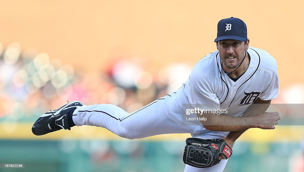 <a gi-track='captionPersonalityLinkClicked' href=/galleries/search?phrase=Justin+Verlander&family=editorial&specificpeople=556723 ng-click='$event.stopPropagation()'>Justin Verlander</a> #35 of the Detroit Tigers pitches in the first inning of the game against the Minnesota Twins at Comerica Park on April 30, 2013 in Detroit, Michigan. The Tigers defeated the Twins 6-1.