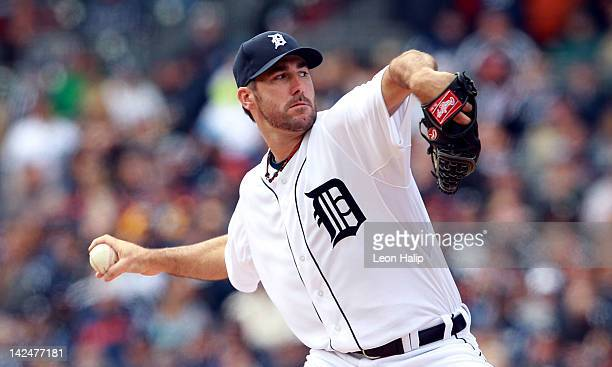 Justin Verlander of the Detroit Tigers pitches in the first inning on opening day against the Boston Red Sox at Comerica Park on April 5 2012 in...