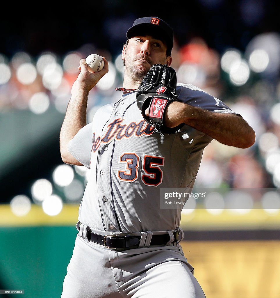 <a gi-track='captionPersonalityLinkClicked' href=/galleries/search?phrase=Justin+Verlander&family=editorial&specificpeople=556723 ng-click='$event.stopPropagation()'>Justin Verlander</a> #35 of the Detroit Tigers pitches in the seventh inning against the Houston Astros at Minute Maid Park on May 5, 2013 in Houston, Texas.