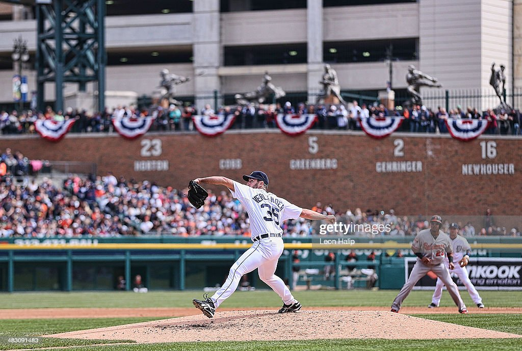 Justin Verlander #35 of the Detroit Tigers pitches in the seventh inning of the game against the Baltimore Orioles at Comerica Park on April 6, 2014 in Detroit, Michigan. The Orioles defeated the Tigers 3-1.