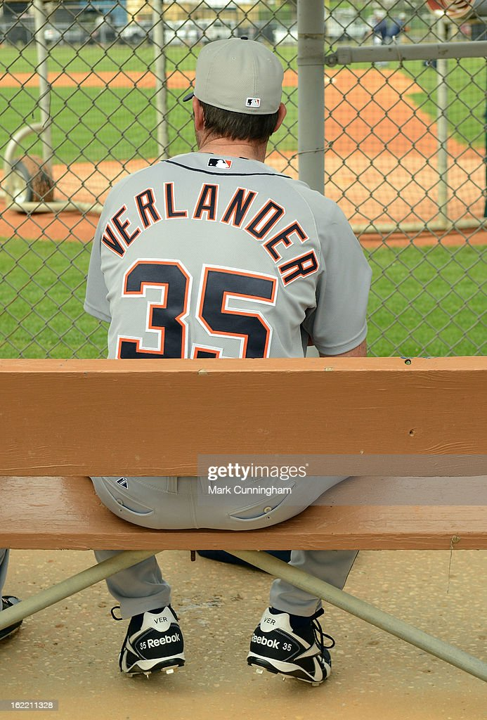 <a gi-track='captionPersonalityLinkClicked' href=/galleries/search?phrase=Justin+Verlander&family=editorial&specificpeople=556723 ng-click='$event.stopPropagation()'>Justin Verlander</a> #35 of the Detroit Tigers sits in the dugout during Spring Training workouts at the TigerTown Facility on February 20, 2013 in Lakeland, Florida.