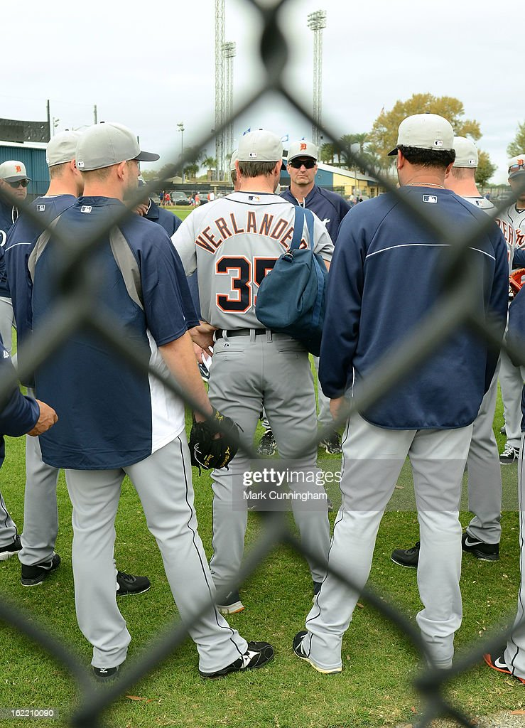 <a gi-track='captionPersonalityLinkClicked' href=/galleries/search?phrase=Justin+Verlander&family=editorial&specificpeople=556723 ng-click='$event.stopPropagation()'>Justin Verlander</a> #35 of the Detroit Tigers stands with teammates on the field during Spring Training workouts at the TigerTown Facility on February 20, 2013 in Lakeland, Florida.