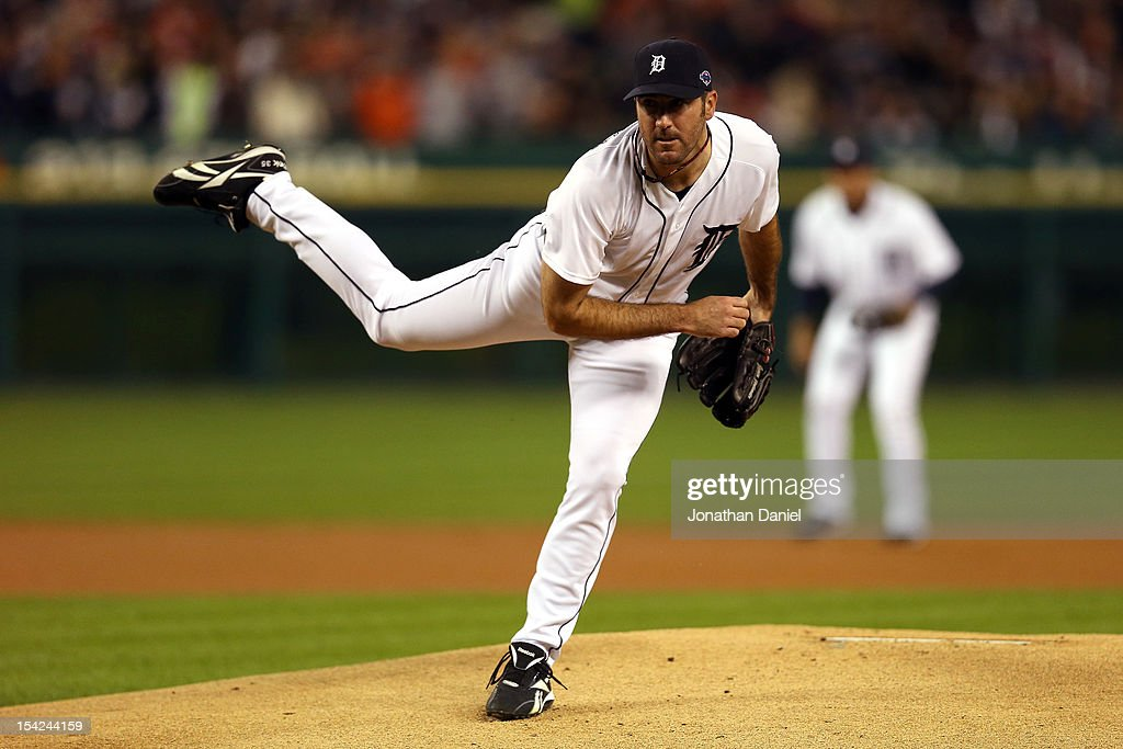 <a gi-track='captionPersonalityLinkClicked' href=/galleries/search?phrase=Justin+Verlander&family=editorial&specificpeople=556723 ng-click='$event.stopPropagation()'>Justin Verlander</a> #35 of the Detroit Tigers throws a pitch against the New York Yankees during game three of the American League Championship Series at Comerica Park on October 16, 2012 in Detroit, Michigan.
