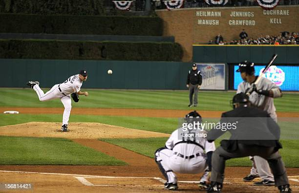 Justin Verlander of the Detroit Tigers throws a pitch against the New York Yankees during game three of the American League Championship Series at...
