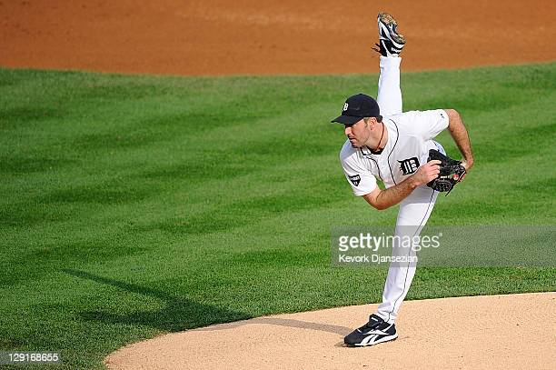 Justin Verlander of the Detroit Tigers throws a pitch against the Detroit Tigers in the first inning of Game Five of the American League Championship...