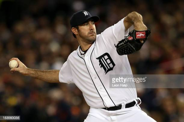 Justin Verlander of the Detroit Tigers throws a pitch against the Oakland Athletics during Game One of the American League Division Series at...