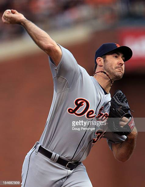 Justin Verlander of the Detroit Tigers throws a pitch against the San Francisco Giants in the first inning during Game One of the Major League...