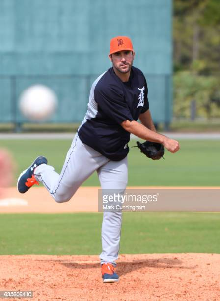 Justin Verlander of the Detroit Tigers throws a pitch during Spring Training workouts at the TigerTown complex on February 15 2017 in Lakeland Florida