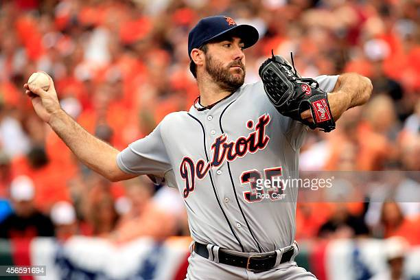 Justin Verlander of the Detroit Tigers throws a pitch in the first inning against the Baltimore Orioles during Game Two of the American League...