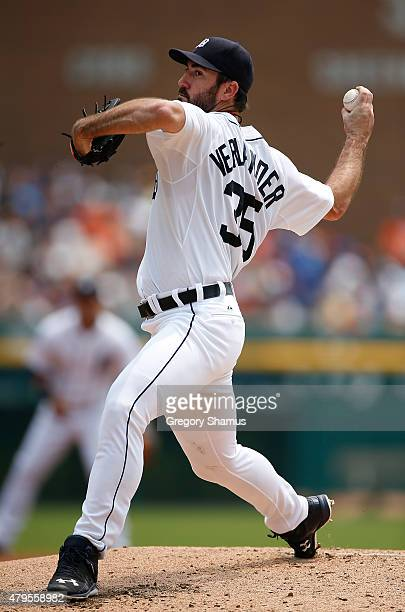 Justin Verlander of the Detroit Tigers throws a pitch in the second inning against the Toronto Blue Jays at Comerica Park on July 5th 2015 in Detroit...