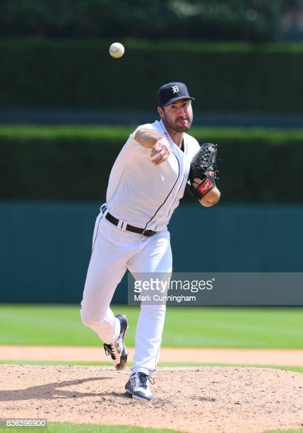 Justin Verlander of the Detroit Tigers throws a warmup pitch during the game against the Los Angeles Dodgers at Comerica Park on August 20 2017 in...