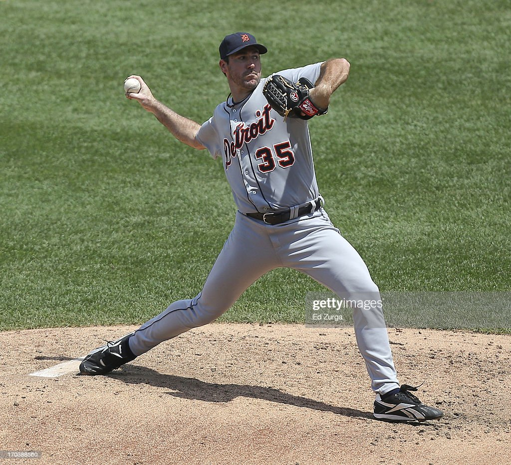 <a gi-track='captionPersonalityLinkClicked' href=/galleries/search?phrase=Justin+Verlander&family=editorial&specificpeople=556723 ng-click='$event.stopPropagation()'>Justin Verlander</a> #35 of the Detroit Tigers throws in the fourth inning during a game against the Kansas City Royals at Kauffman Stadium on June 12, 2013 in Kansas City, Missouri.