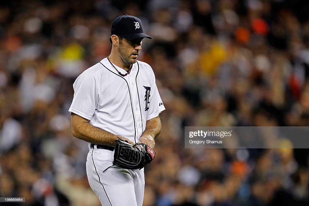 <a gi-track='captionPersonalityLinkClicked' href=/galleries/search?phrase=Justin+Verlander&family=editorial&specificpeople=556723 ng-click='$event.stopPropagation()'>Justin Verlander</a> #35 of the Detroit Tigers walks back to the dugout after he was taken out of the game in the ninth inning against the New York Yankees during game three of the American League Championship Series at Comerica Park on October 16, 2012 in Detroit, Michigan.