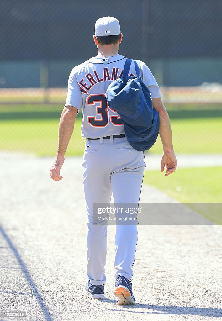 <a gi-track='captionPersonalityLinkClicked' href=/galleries/search?phrase=Justin+Verlander&family=editorial&specificpeople=556723 ng-click='$event.stopPropagation()'>Justin Verlander</a> #35 of the Detroit Tigers walks off the field during Spring Training workouts at the TigerTown Facility on February 20, 2013 in Lakeland, Florida.