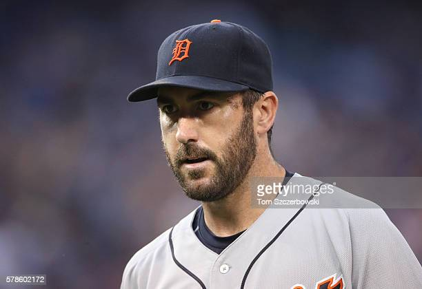 Justin Verlander of the Detroit Tigers walks to the dugout after getting the last out of the fourth inning during MLB game action against the Toronto...