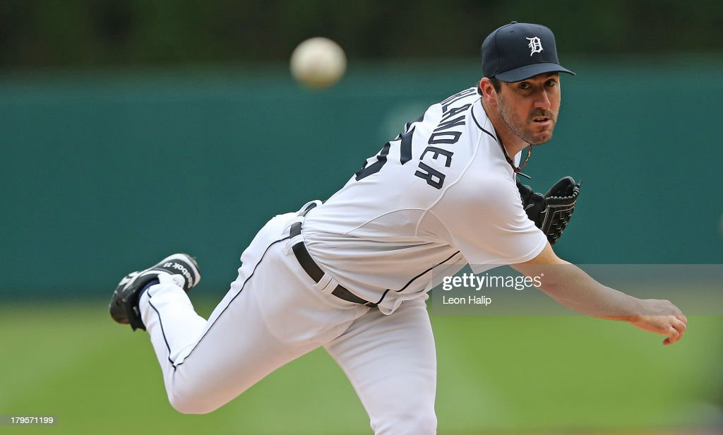 <a gi-track='captionPersonalityLinkClicked' href=/galleries/search?phrase=Justin+Verlander&family=editorial&specificpeople=556723 ng-click='$event.stopPropagation()'>Justin Verlander</a> #35 of the Detroit Tigers warms up prior to the start of the game against the Cleveland Indians at Comerica Park on September 1, 2013 in Detroit, Michigan. The Indians defeated the Tigers 4-0.