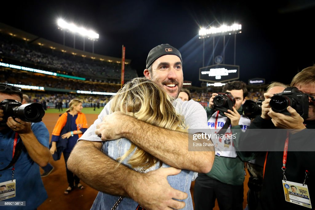 Justin Verlander #35 of the Houston Astros celebrates with fiancee Kate Upton after the Astros defeated the Los Angeles Dodgers 5-1 in game seven to win the 2017 World Series at Dodger Stadium on November 1, 2017 in Los Angeles, California.