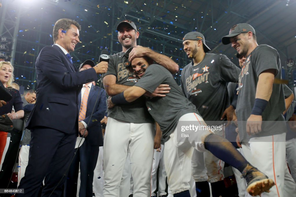 Justin Verlander #35 of the Houston Astros celebrates with Jose Altuve #27 after defeating the New York Yankees by a score of 4-0 to win Game Seven of the American League Championship Series at Minute Maid Park on October 21, 2017 in Houston, Texas. The Houston Astros advance to face the Los Angeles Dodgers in the World Series.