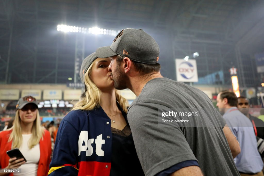 Justin Verlander #35 of the Houston Astros kisses model Kate Upton after defeating the New York Yankees by a score of 4-0 to win Game Seven of the American League Championship Series at Minute Maid Park on October 21, 2017 in Houston, Texas. The Houston Astros advance to face the Los Angeles Dodgers in the World Series.