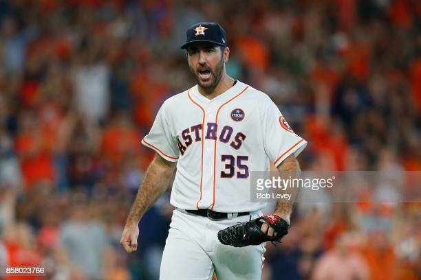Justin Verlander of the Houston Astros reacts after a double play ended the fifth inning against the Boston Red Sox during game one of the American...