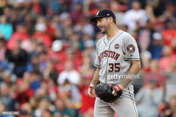 Justin Verlander of the Houston Astros reacts in the sixth inning against the Boston Red Sox during game four of the American League Division Series...