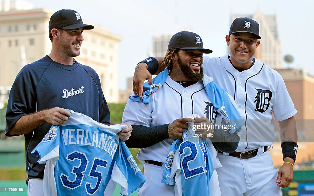 <a gi-track='captionPersonalityLinkClicked' href=/galleries/search?phrase=Justin+Verlander&family=editorial&specificpeople=556723 ng-click='$event.stopPropagation()'>Justin Verlander</a> #35, <a gi-track='captionPersonalityLinkClicked' href=/galleries/search?phrase=Prince+Fielder&family=editorial&specificpeople=209392 ng-click='$event.stopPropagation()'>Prince Fielder</a> #28 and <a gi-track='captionPersonalityLinkClicked' href=/galleries/search?phrase=Miguel+Cabrera&family=editorial&specificpeople=202141 ng-click='$event.stopPropagation()'>Miguel Cabrera</a> #24 of the Detroit Tigers show off their All-Star Game batting jerseys prior to the start of the game against the Kansas City Royals at Comerica Park on July 6, 2012 in Detroit, Michigan. The Tigers defeated the Royals 4-2.