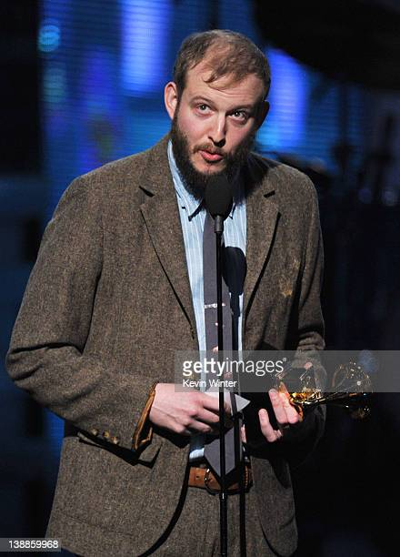Justin Vernon of Bon Iver accepts the award for 'Best New Artist' onstage at the 54th Annual GRAMMY Awards held at Staples Center on February 12 2012...