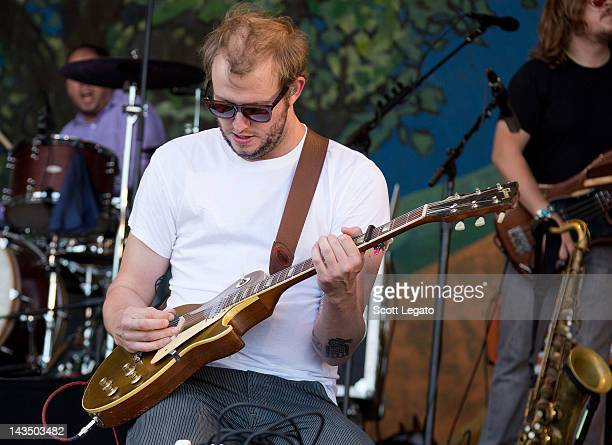 Justin Vernon of Bon Iver performs during the 2012 New Orleans Jazz Heritage Festival at the Fair Grounds Race Course on April 27 2012 in New Orleans...