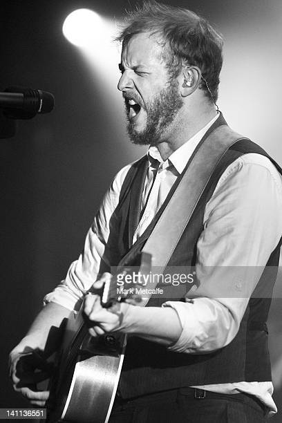 Justin Vernon of Bon Iver performs on stage at the Sydney Opera House on March 11 2012 in Sydney Australia