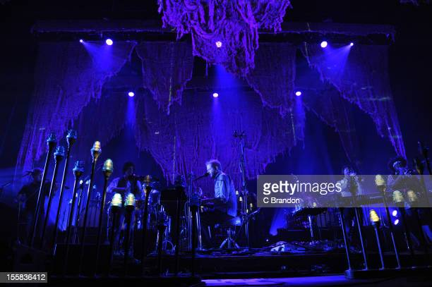 Justin Vernon of Bon Iver performs on stage at Wembley Arena on November 8 2012 in London England
