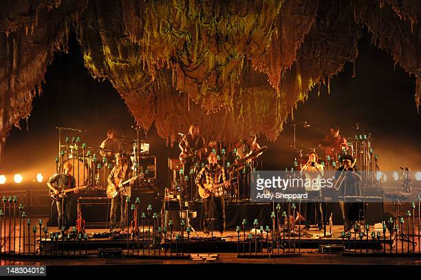 Justin Vernon of the band Bon Iver performs on stage during Latitude Festival 2012 at Henham Park Estate on July 13 2012 in Southwold United Kingdom