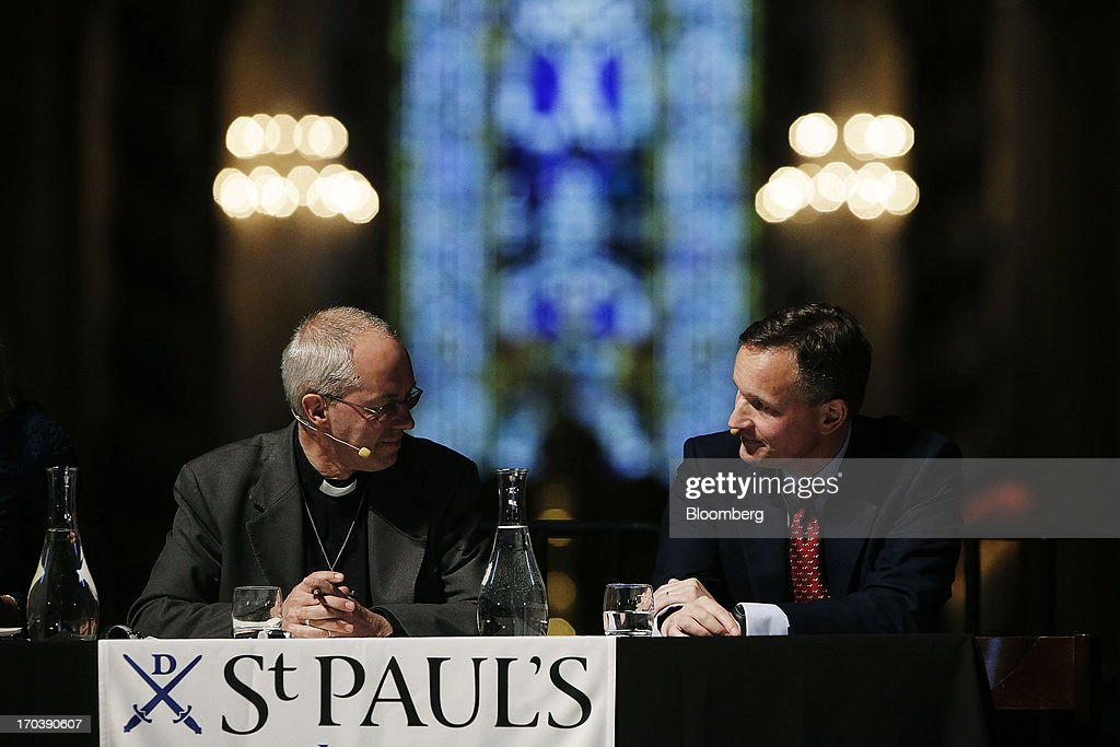 <a gi-track='captionPersonalityLinkClicked' href=/galleries/search?phrase=Justin+Welby&family=editorial&specificpeople=9960447 ng-click='$event.stopPropagation()'>Justin Welby</a>, Archbishop of Canterbury, left, and <a gi-track='captionPersonalityLinkClicked' href=/galleries/search?phrase=Anthony+Jenkins&family=editorial&specificpeople=3563847 ng-click='$event.stopPropagation()'>Anthony Jenkins</a>, chief executive officer of Barclays Plc, participate in the 'What kind of City do we want? Good Banks' debate at St Paul's cathedral in London, U.K., on Wednesday, June 12, 2013. Britain's four biggest banks will have eliminated about 189,000 jobs by the end of this year from their peak staffing levels, bringing employment to a nine-year low amid a dearth of revenue. Photographer: Matthew Lloyd/Bloomberg via Getty Images