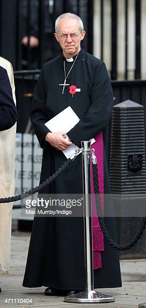 Justin Welby The Archbishop of Canterbury attends a wreathlaying ceremony at the Cenotaph to commemorate ANZAC Day and the Centenary of the Gallipoli...