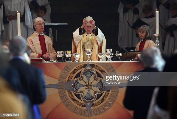 Justin Welby the Archbishop of Canterbury delivers his Easter sermon on April 5 2015 in Canterbury England During his traditional message the...
