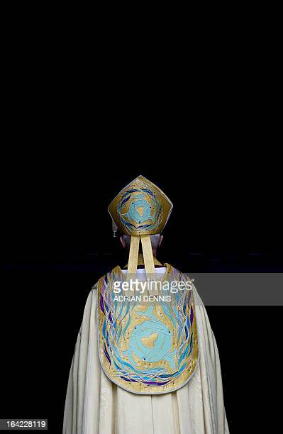Justin Welby The Archbishop of Canterbury waits to enter the West Door at Canterbury Cathedral in Canterbury on March 21 2013 prior to his...