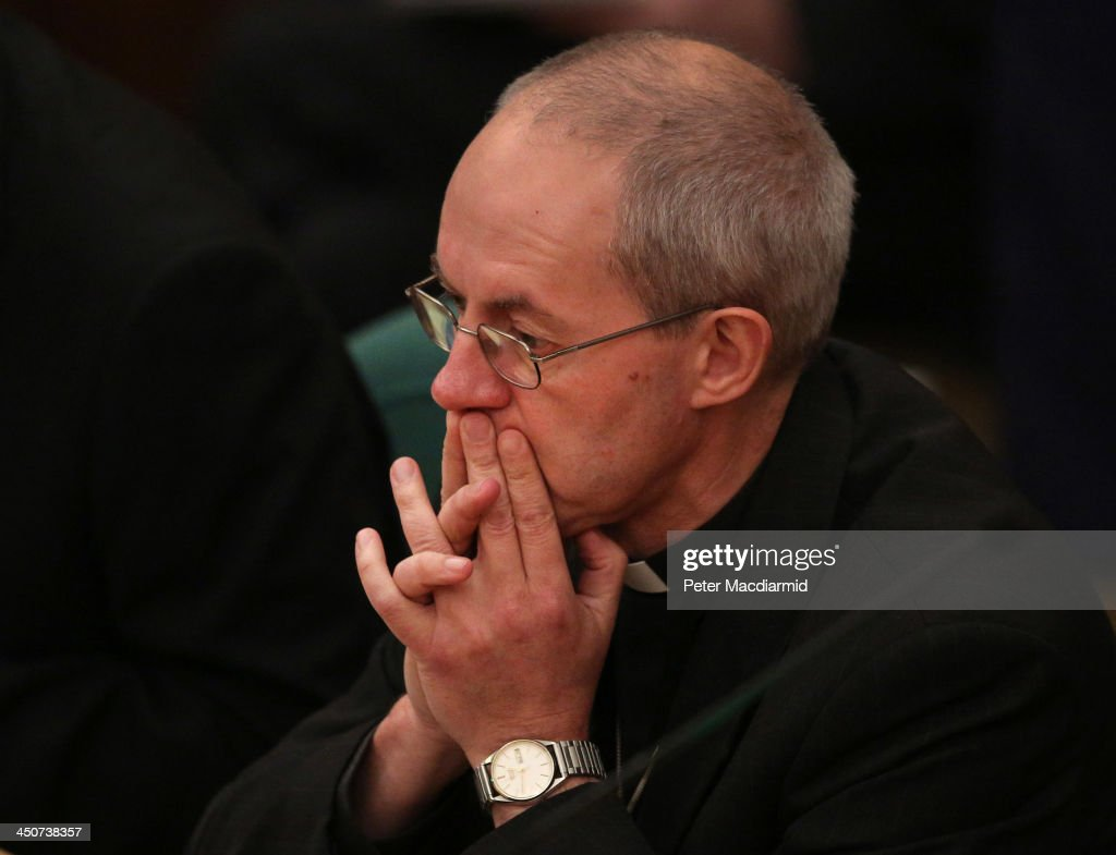 <a gi-track='captionPersonalityLinkClicked' href=/galleries/search?phrase=Justin+Welby&family=editorial&specificpeople=9960447 ng-click='$event.stopPropagation()'>Justin Welby</a>, the Archbishop of Canterbury waits to hear the results of a vote on the ordination of women bishops during the General Synod at Church House on November 20, 2013 in London, England. The Church of England's governing body has voted for a proposal which may allow the ordination of woman as bishops in 2014.